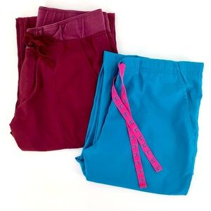 Bundle of 2 Peach Sport Uniform Scrub Pants Sz L